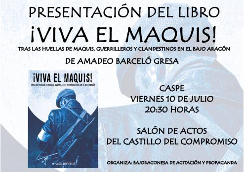 """Presentación del libro """"¡Viva el Maquis!"""" en Caspe"""