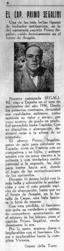 """Figura 28. Reseña del fallecimiento de Primo Segalini en """"Il voluntario della libertá"""", nº 78, 12 maggio 1938. (RGASPI. F.545. Op.2. D.365)."""