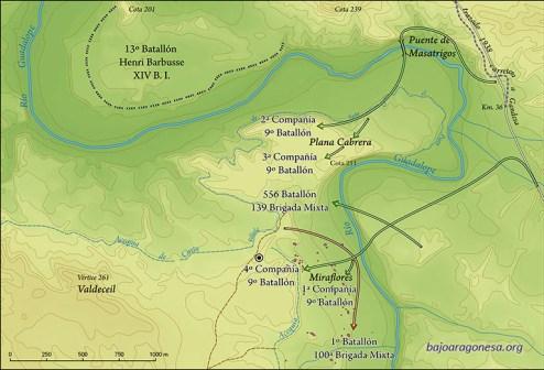 Movimientos del 9º Batallón Commune de Paris y otras unidades entre el 18 y 19 de marzo de 1938 en el área de Miraflores. El círculo concéntrico indica la situación de la fosa hallada.