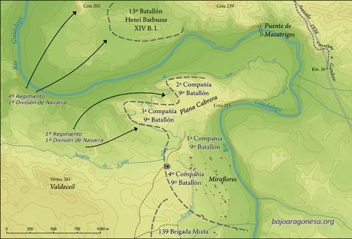 Ofensiva del día 26 de marzo de 1938 de la 1ª División de Navarra. Situación de las líneas de defensa republicanas tras la jornada. El círculo concéntrico indica la situación de la fosa hallada.