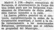 """Caspe, 1932: el desahucio de los franciscanos y la apertura del Instituto de Segunda Enseñanza """"Joaquín Costa"""" (parte I)"""