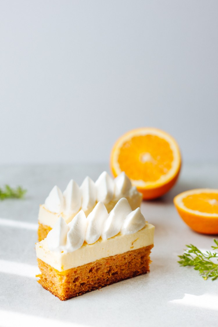 Carrot cake with white chocolate mousse