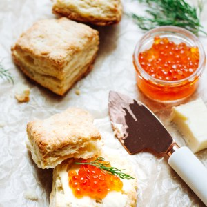 Morning biscuits with salmon roe