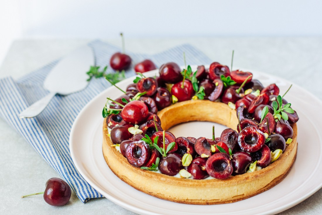 Summer tart with cherries and almond cream