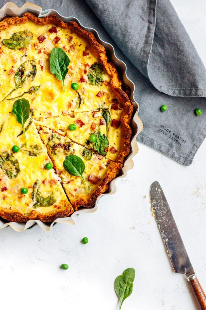 Quiche Lorraine (savory tart) with ham and spinach