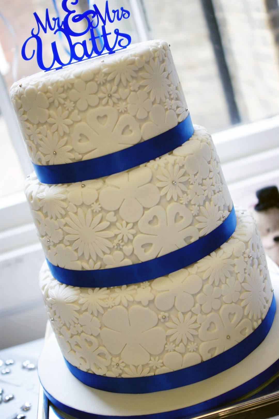 Royal Blue Flower Stamp 3 Tier Wedding Cake