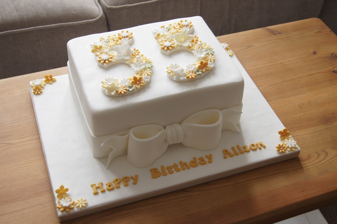 Floral 55th Birthday Cake
