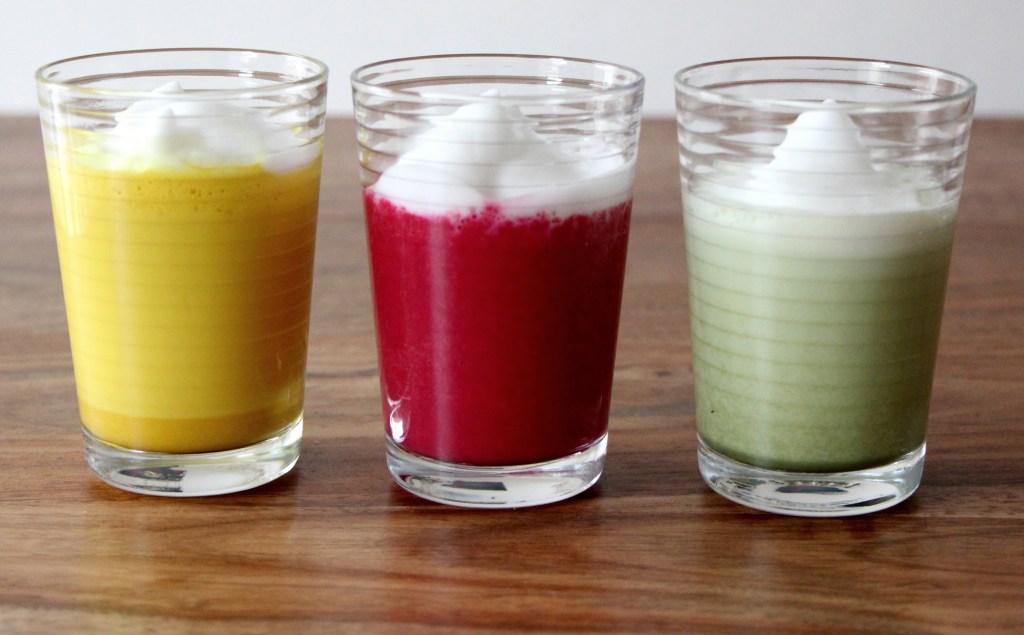 Golden Milk, Beetroot Latte, and Matcha Latte