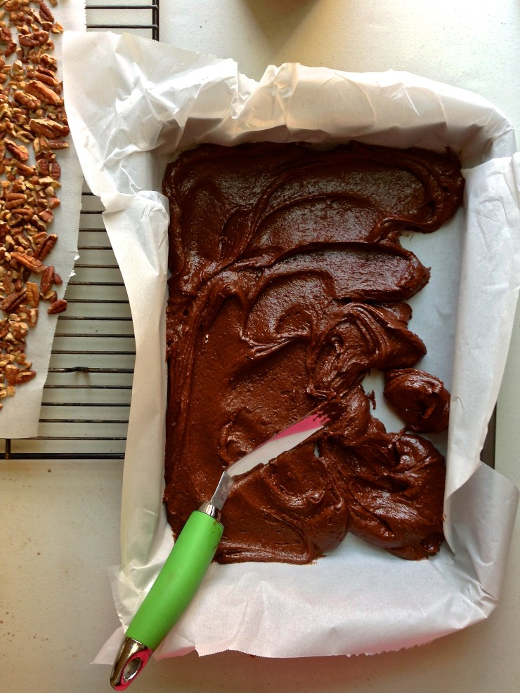 salted caramel turtle brownies - first brownie batter layer