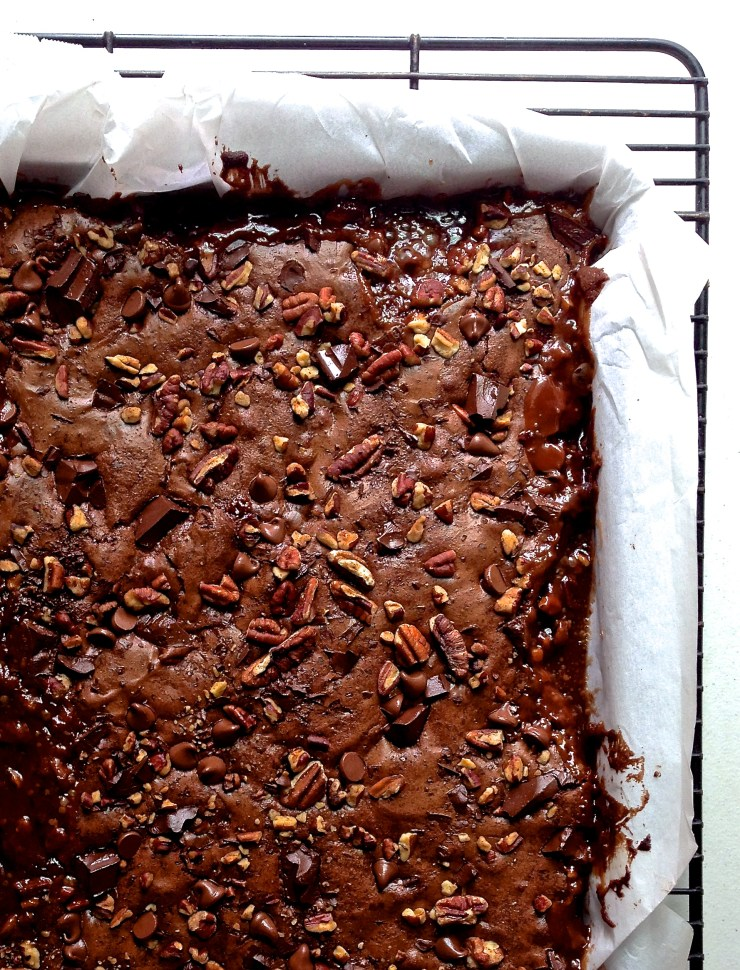 salted caramel turtle brownies - out of the oven (close-up)