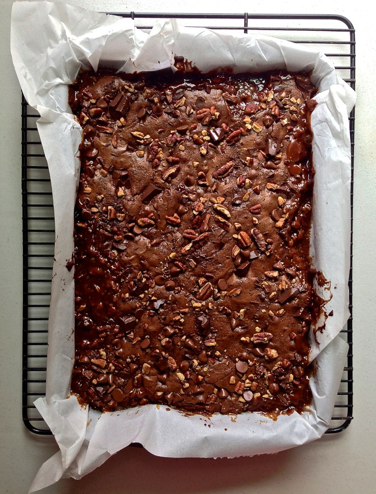 salted caramel turtle brownies - out of the oven (whole pan)