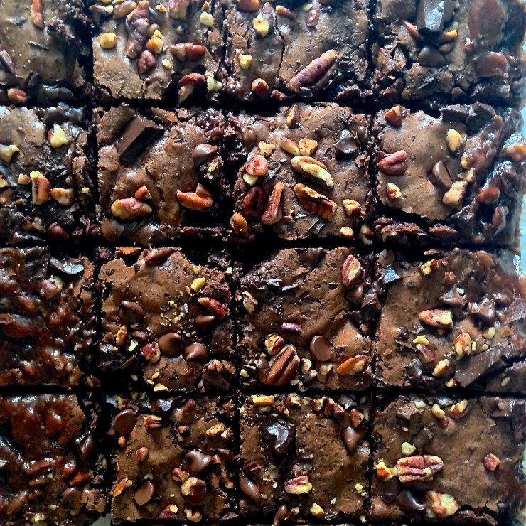 salted caramel turtle brownies - close-up