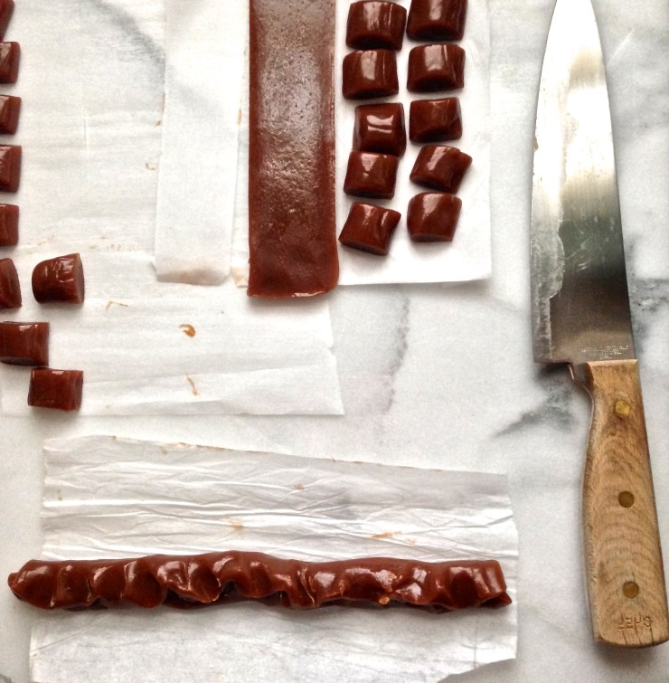 cutting and shaping the caramels