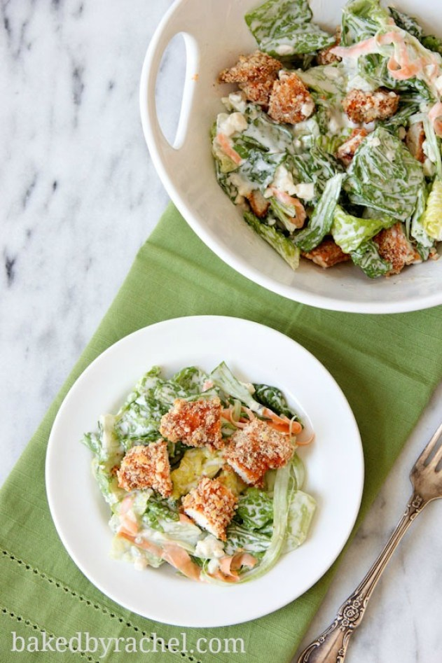 simple dinner ideas, Buffalo Chicken Tender Salad with Blue Cheese Dressing