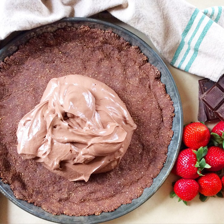 Chocolate Covered Strawberry Greek Yogurt Pie