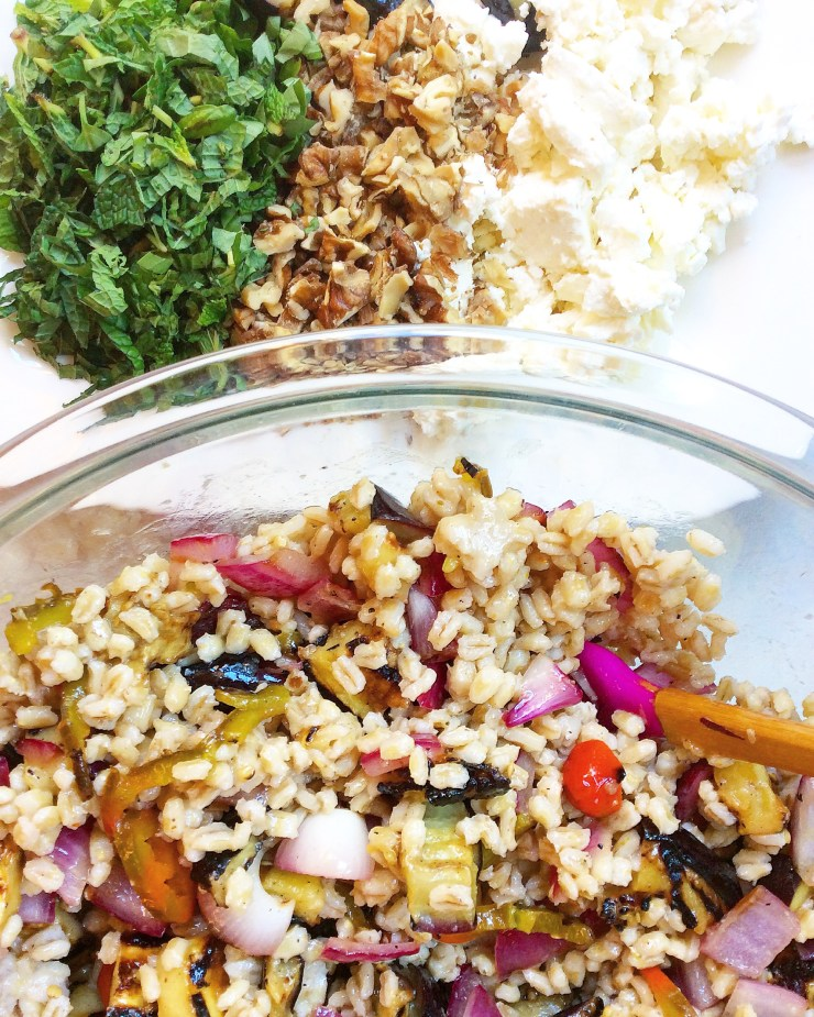 Barley Salad with Grilled Eggplant, Feta, and Mint