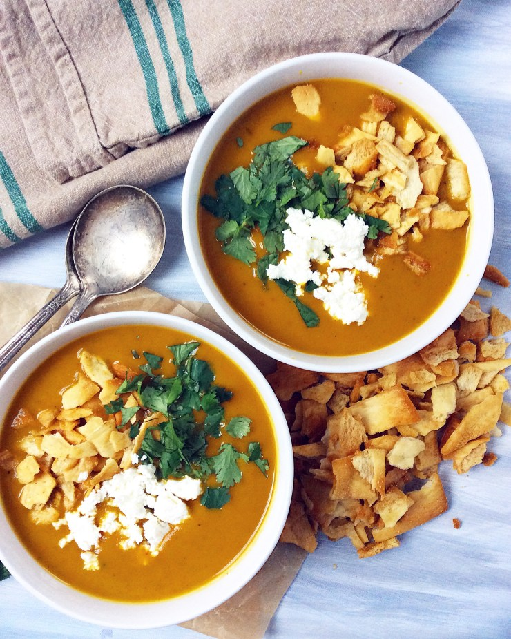 Curried Butternut Squash Soup with Garlic Pita Croutons