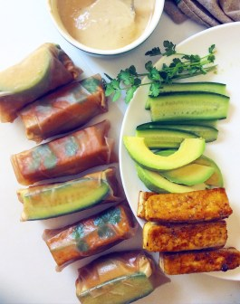 Sesame Tofu Spring Rolls with Tahini Sauce