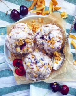 Cherry, Coconut & Almond Butter Caramel Ice Cream (Vegan, Paleo)