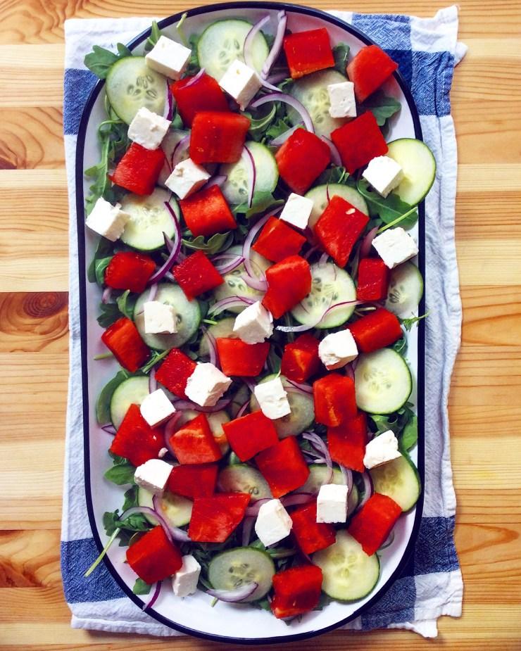 Watermelon & Feta Salad with Spicy Pumpkin Seeds