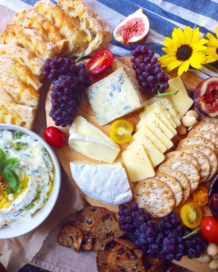 Summer Cheese Board + Grilled Corn & Jalapeno Goat Cheese Spread