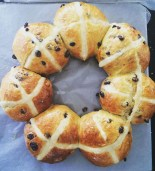 Golden saffron hot cross bun