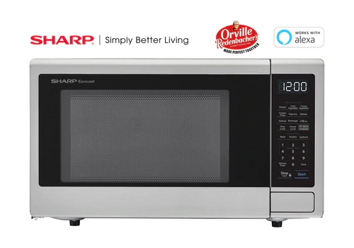 sharp stainless steel smart carousel countertop microwave oven 1 1 cu ft 1000w