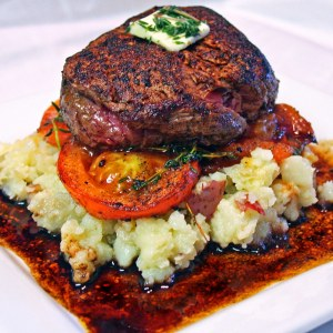 Filet Mignon on Fried Tomatoes and Mashed Red Potatoes