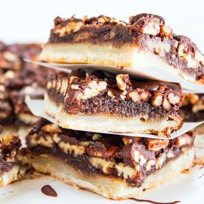 Chocolate Pecan Slab Pie Bars