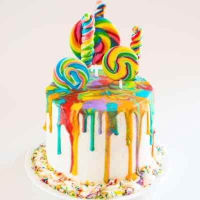Rainbow Lollipop Drip Cake