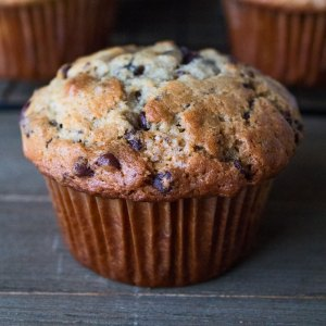 Chocolate Chip Banana Muffins are a super quick one bowl method muffin to make