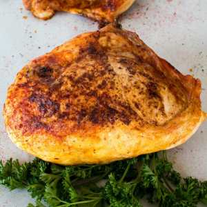 These super easy oven baked split chicken breasts are perfectly seasoned with an extra crispy skin!