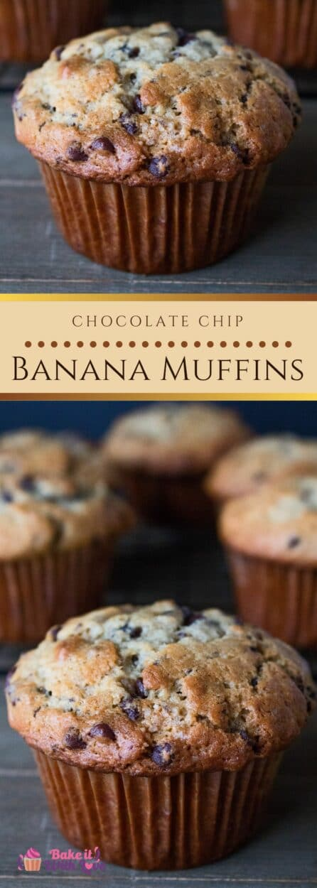 Chocolate Chip Banana Muffins have just the right amount of sweetness from the mini chocolate chips