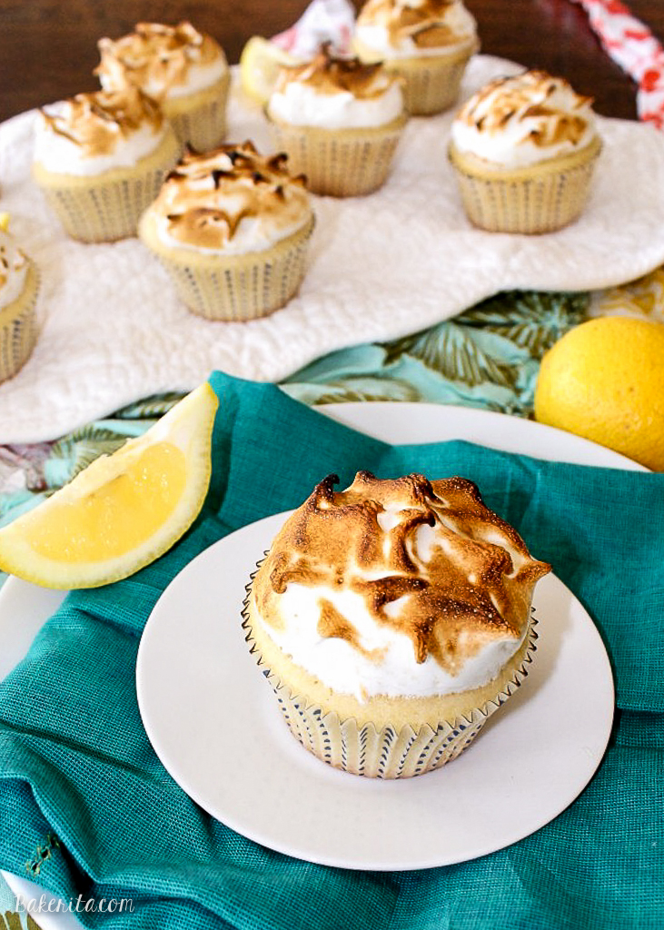 These Lemon Meringue Cupcakes have a delicious lemon-scented cake filled with tart lemon curd and topped with a fluffy, airy toasted meringue frosting!