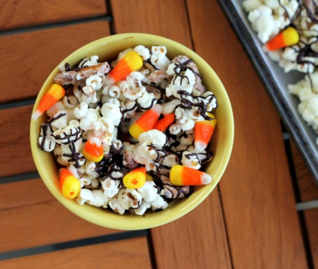 This White Chocolate Candy Corn Popcorn Is Tossed With With Pretzels Candy Corn White