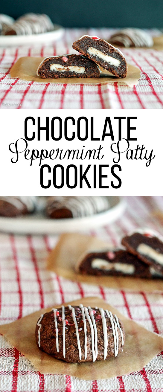 These Chocolate Peppermint Patty Cookies are delicious, fudgy chocolate cookies stuffed with a peppermint patty and topped with crushed candy canes and a peppermint drizzle.