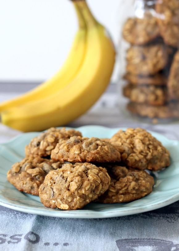 These Banana Oatmeal Chocolate Chip Cookies don't use any butter but are still incredibly moist, flavorful, & delicious. You won't be able to eat just one!
