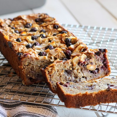 Toasted Coconut Blueberry Banana Bread (GF, Low Fat)