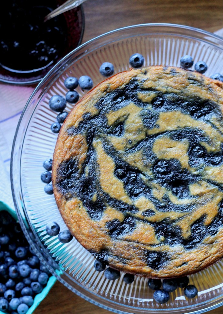 This Paleo Banana Blueberry Swirl Cake has a blueberry compote swirled throughout, for a moist and tender cake that's also gluten free and Paleo!