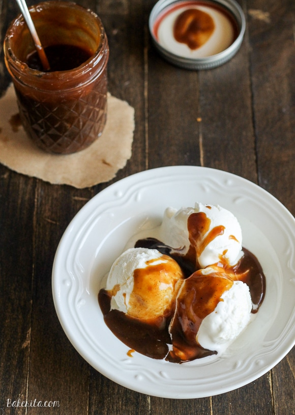 This Paleo Caramel Sauce is made with coconut milk and coconut sugar for a delicious, silky smooth sauce that's refined sugar free and vegan! It's perfect as a Paleo substitute for caramel sauce in any recipe.