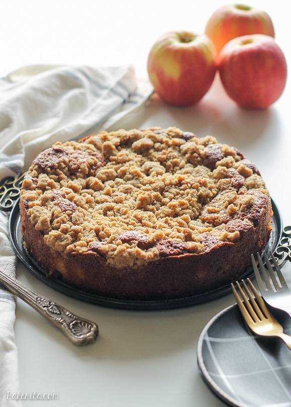 This Apple Crumb Cake is full of warm spices, apple chunks, and Greek yogurt to keep it soft! This recipe has a super thick crumb layer and is a perfect fall cake.