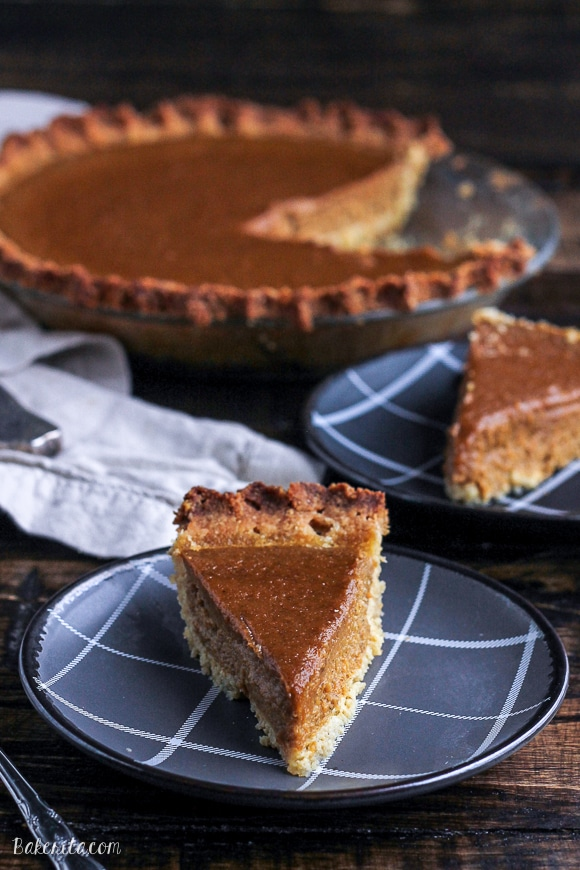 This Paleo Pumpkin Pie is super creamy and healthy enough to eat for breakfast. This recipe is a wonderful gluten-free, refined sugar-free, and dairy-free alternative to enjoy this holiday season