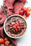 This Chocolate Strawberry Oatmeal tastes like dessert for breakfast, but you can enjoy it guilt-free! This oatmeal is sweetened with just a ripe banana, no added sugar needed. It's gluten-free, refined sugar free, and vegan.