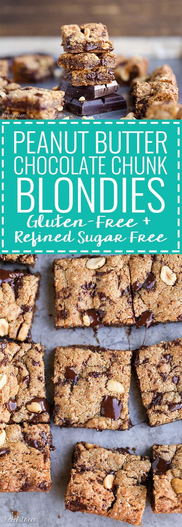 Peanut Butter Chocolate Chunk Blondies (GF + Refined SF) - Bakerita