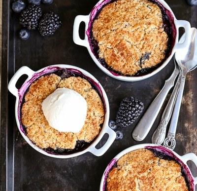 Blackberry + Blueberry Cobbler (Gluten Free, Paleo + Vegan)