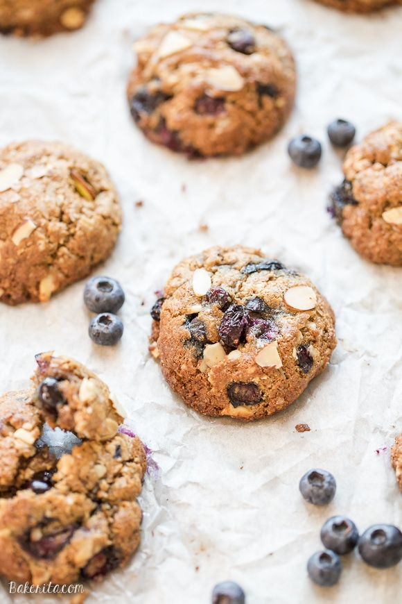 Almond Blueberry Breakfast Cookies are a quick and healthy breakfast treat, snack, or dessert. These hearty breakfast cookies, made with rolled oats and almond butter, are gluten free, refined sugar free, and bursting with fresh blueberries!
