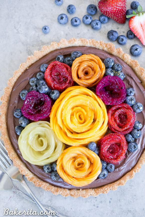 Chocolate Mousse Tart with Coconut Crust + Fresh Fruit Flowers ...