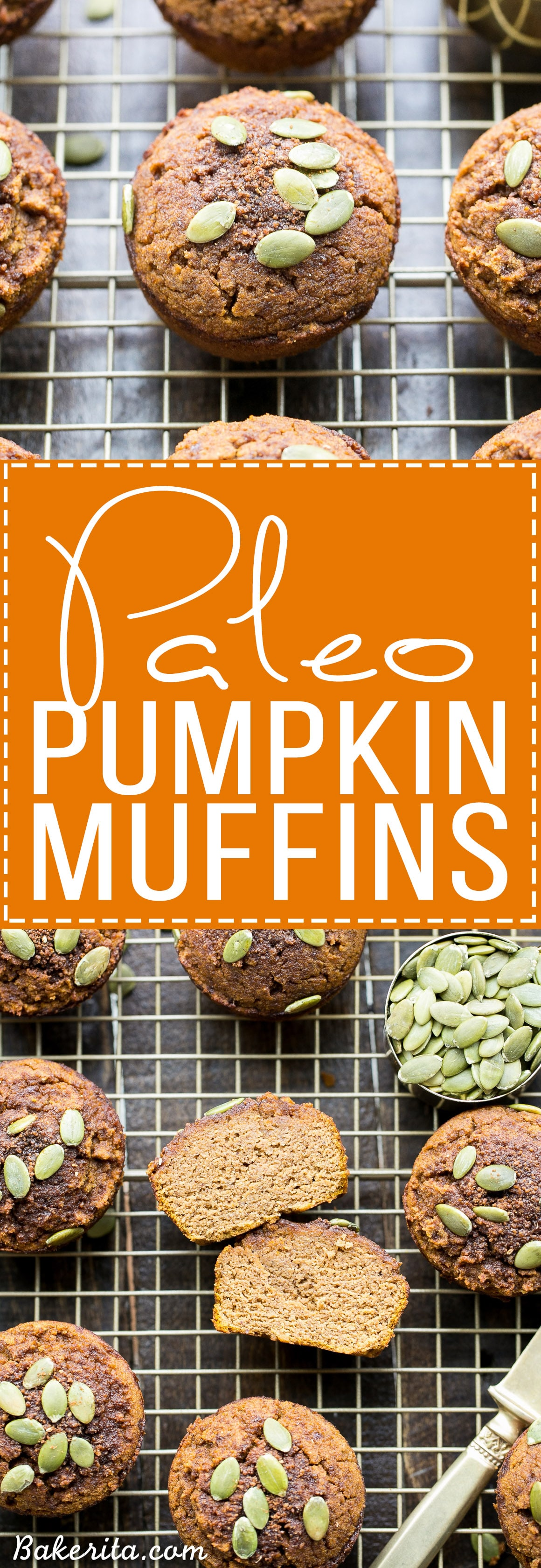 These Paleo Pumpkin Muffins, made with coconut flour and almond butter, are moist, fluffy, and lightly spiced with cinnamon and nutmeg. These healthy muffins make a great breakfast or snack and freeze well.