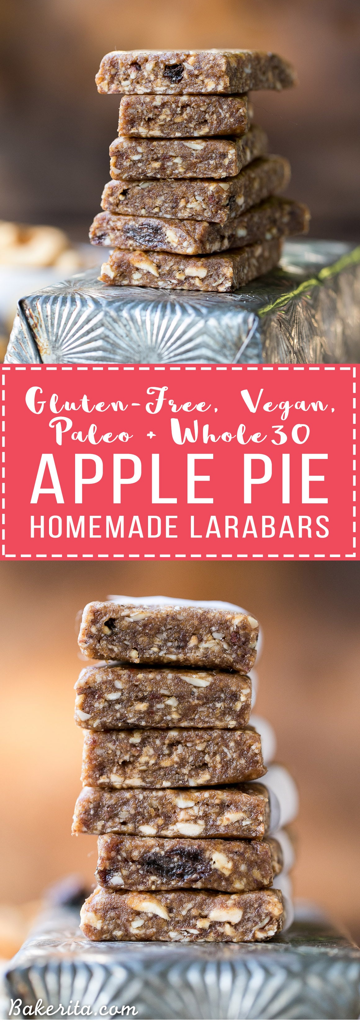 This Homemade Apple Pie Larabar Recipe is super simple and incredibly delicious - it requires no baking, and it's the perfect gluten-free, Paleo, vegan, and Whole30-friendly snack.