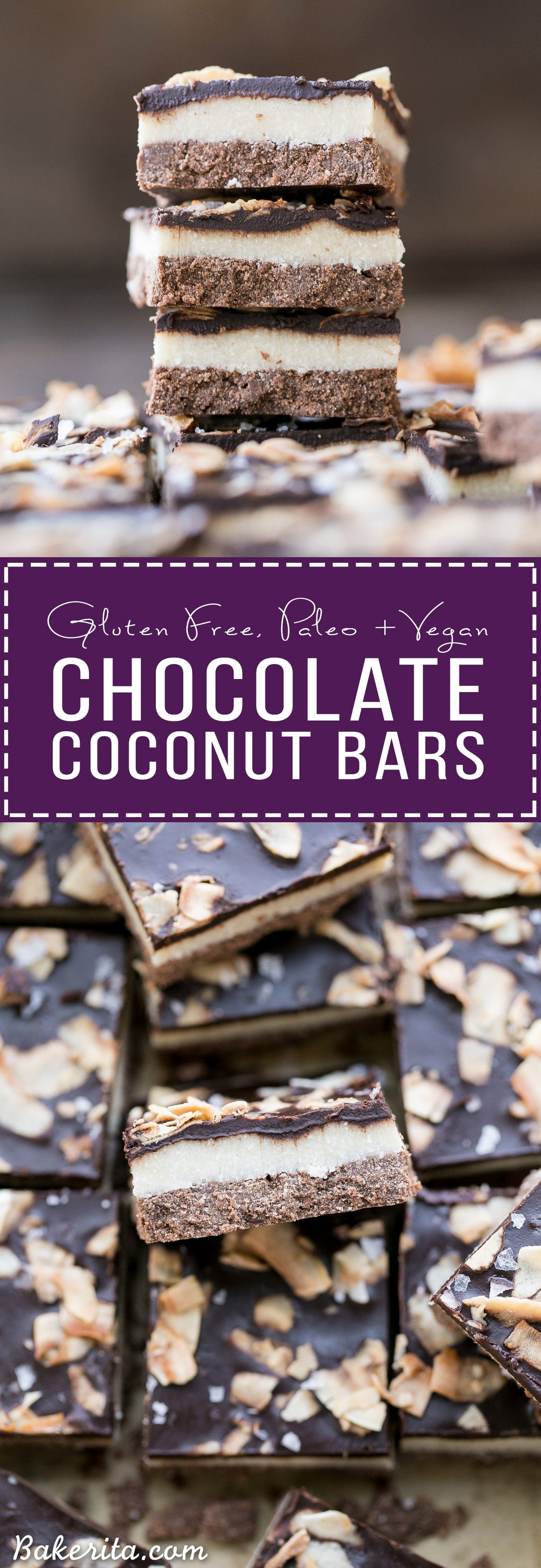 These Chocolate Coconut Bars have three irresistible layers - a chocolate shortbread crust, a melt-in-your-mouth coconut butter filling, and a chocolate topping with toasted coconut! Any coconut lover is going to love these gluten-free, Paleo + vegan dessert bars.